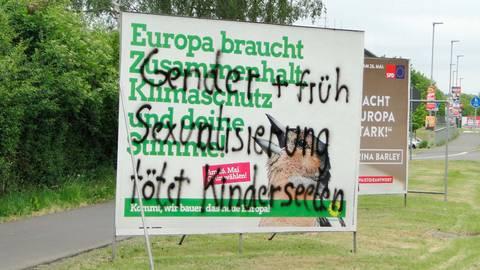 Die Polizei ermittelt wegen des verschmierten Plakats. Foto: Potengowski