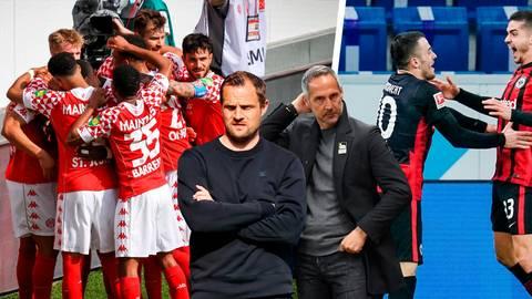Eintracht gegen Mainz, Adi Hütter (rechts) gegen Bo Svensson: Zwei der besten Rückrunden-Teams treffen aufeinander.