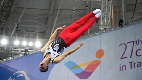 Miguel Feyh (Kängurus Dauernheim) überzeugt mit seiner Akrobatik. Foto: Bahr