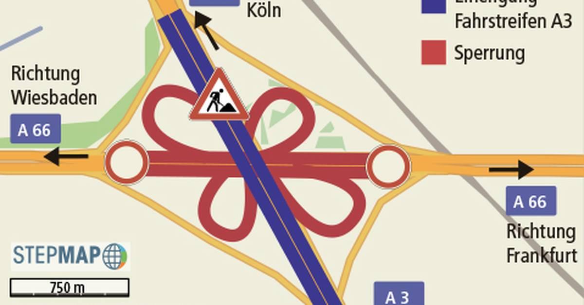 Sperrung A66 Wiesbadener Kreuz