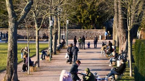 In der Orangerie in Darmstadt genießen Spaziergänger die Sonne. Foto: Dirk Zengel
