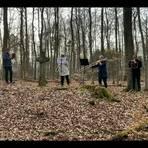 Das Bläserensemble des Evangelischen Posaunenchors Maulbach spielt am Krehlingskreuz. Foto: Carsten Simmer
