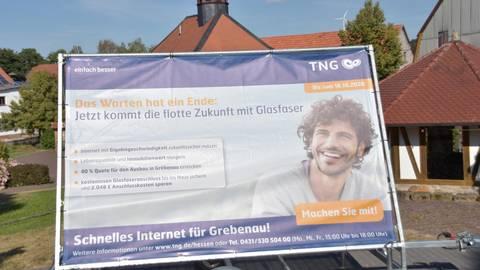 Nicht nur während Infoveranstaltungen wirbt das Kieler Unternehmen für den flächendeckenden Glasfaserausbau in den drei Vogelsberger Kommunen. Foto: Krämer