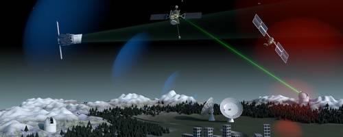 Möglichst schnell auf herumfliegenden Müll im Weltraum reagieren zu können, das hat sich die ESA vorgenommen – damit Kollisionen mit aktiven Satelliten und Raumstationen künftig möglichst vermieden werden. Dazu sollen am Boden und in der Luft neue Radar- und Lasertechniken eingesetzt werden. Computerdarstellung: ESA