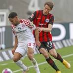 Phillipp Mwene behauptet den Ball gegen Frankfurts Eric Durm. Foto: René Vigneron