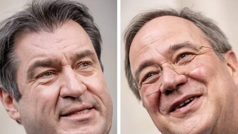 Markus Söder (CSU), Ministerpräsident von Bayern und CSU-Vorsitzender, und Armin Laschet (CDU), Ministerpräsident von Nordrhein-Westfalen und CDU-Vorsitzender, nach der Sitzung der CDU/CSU Fraktion im Bundestag.  Foto: Michael Kappeler/dpa