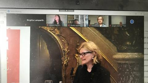 Via Internet stellt die Direktorin des Stadtmuseums, Sabine Philipp, das Ausstellungsvorhaben vor. Foto: Lamparth