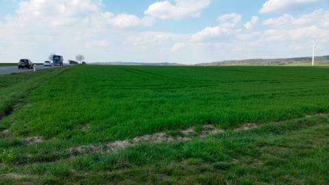 Diese landwirtschaftlichen Flächen an der B254 sollen im Regionalplan umgewidmet werden.      Foto: Schäfer