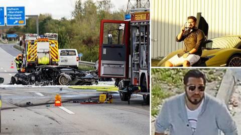Bei einem illegalen Autorennen kam bei Hofheim eine unbeteiligte Frau ums Leben. Zwei Lamborghini sollen beteiligt gewesen sein. Oben rechts: Navid F., der bereits in Haft sitzt. Unten rechts: Der gesuchte Ramsy Azakir. Fotos: Polizei, Instagram, wiesbaden112