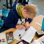 Fünf Stunden lang haben die Schüler im Dezember ihre eigenen Erklärungen für die Bilder des Waldknigges geschrieben. Davon wurden nun 5000 Stück gedruckt. Foto: Sascha Valentin