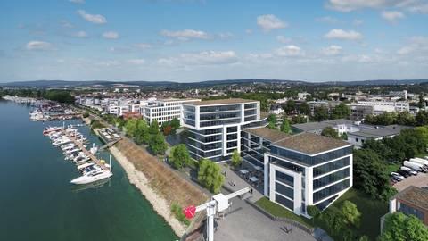 Die Rheinlounge am Schiersteiner Osthafen soll am 4. Juli eröffnen. Foto: SEG