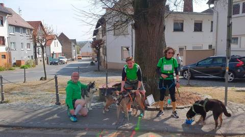In Geiß-Nidda sind als Novum auch die Cani-Crosser am Start unterm Lindenbaum während der virtuellen Woche der Laufsportler. Fotos: tvg