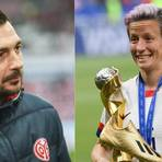 Mainz 05-Trainer Sandro Schwarz und US-Star Megan Rapinoe. Fotos: Lukas Görlach/dpa